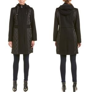 Tahari Kylie Wool Forest Green Coat with Hood L